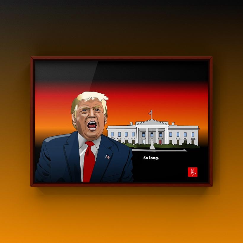 米国第45代トランプ大統領のエクセル画イラスト米国額装版