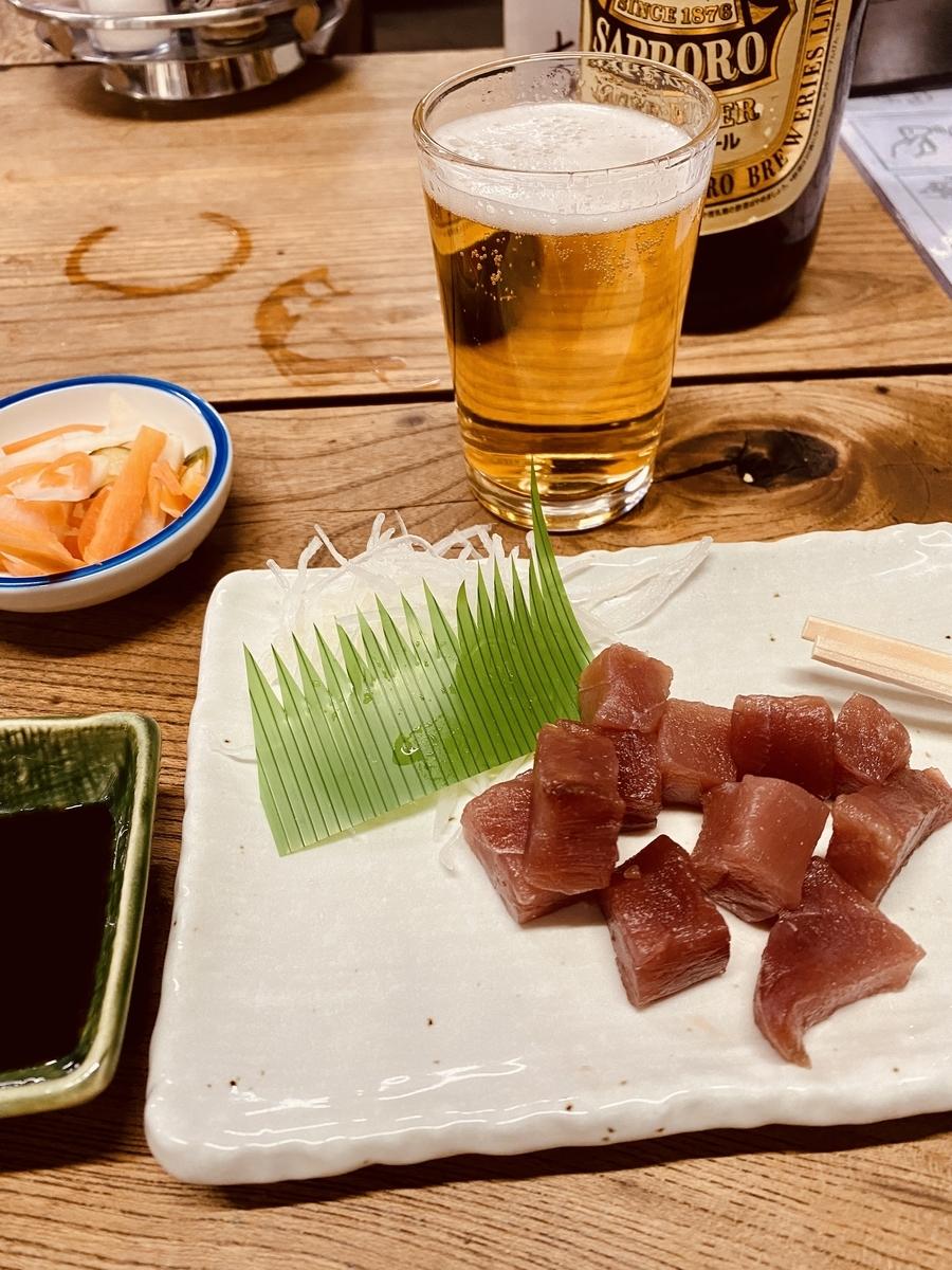 十条の名酒場「斎藤酒場」でビールとまぐろぶつ