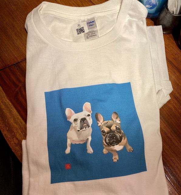 フレンチブルのエクセル画Tシャツ