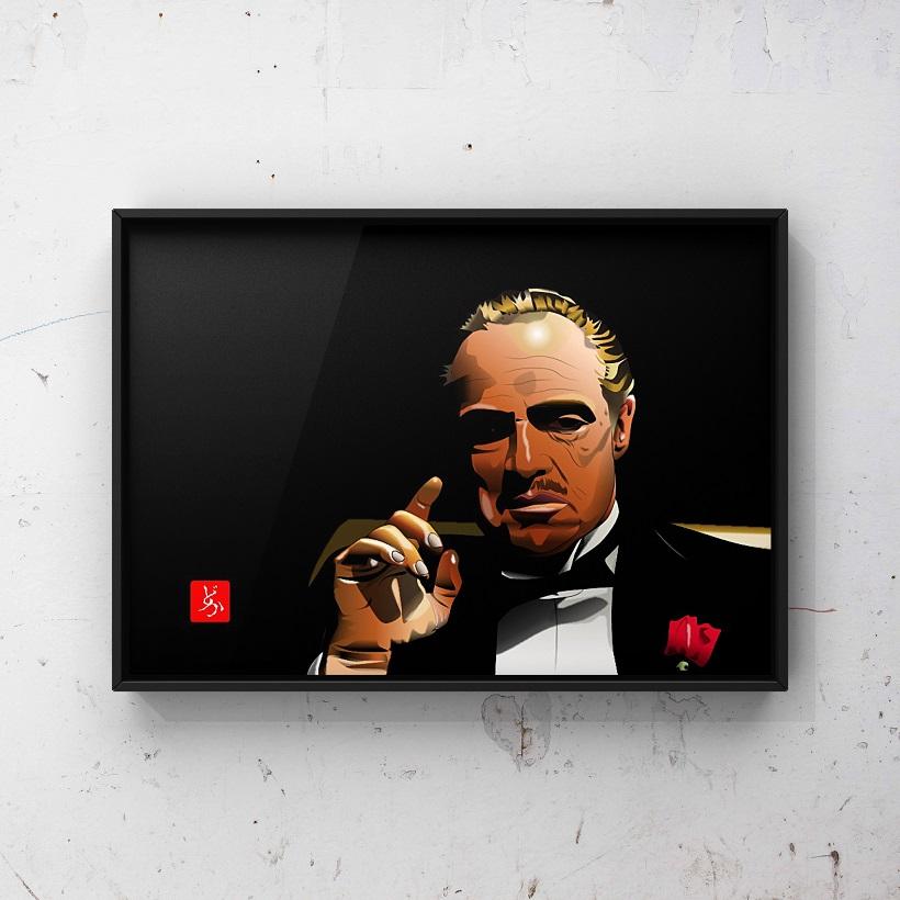 「ゴッドファーザー」のドン・コルレオーネのエクセル画イラスト額装版