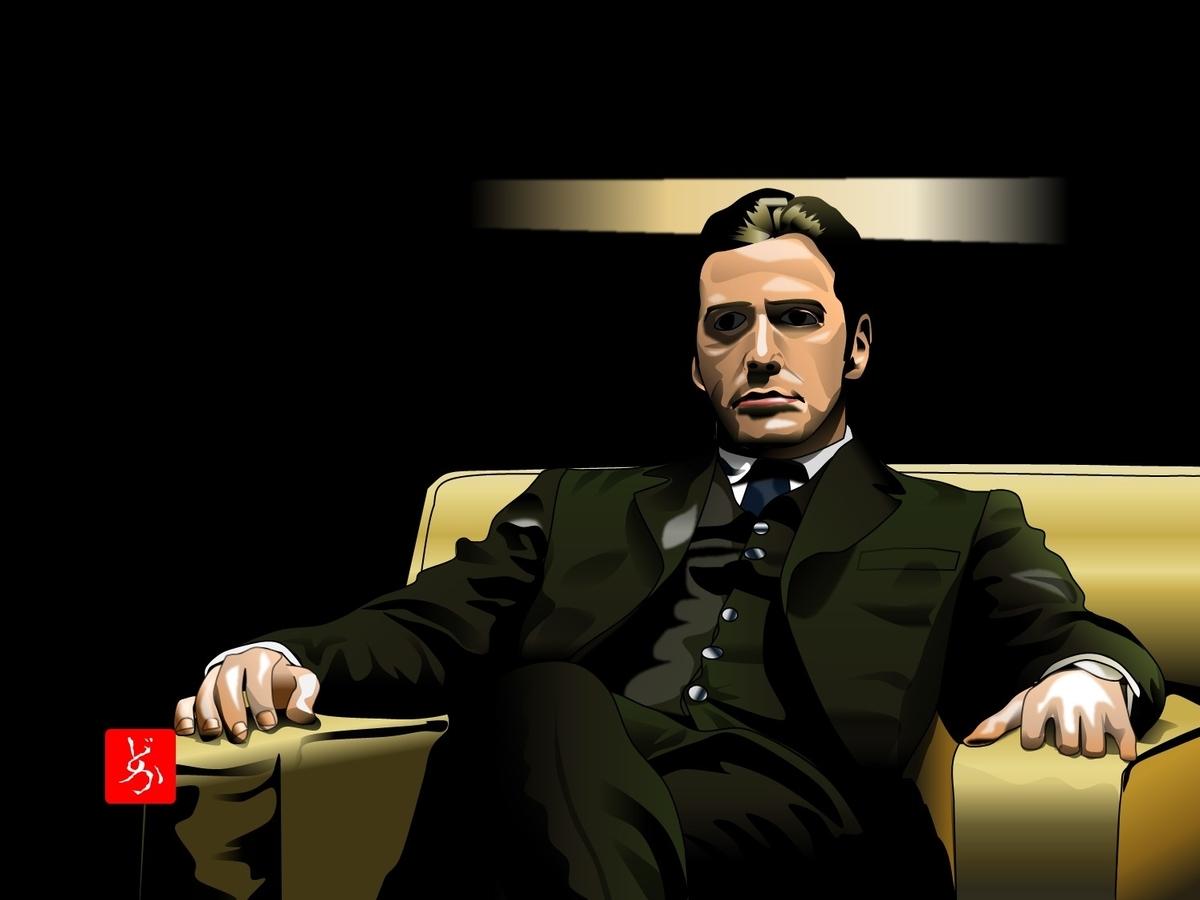『ゴッドファーザー』のマイケル・コルレオーネのエクセル画イラスト