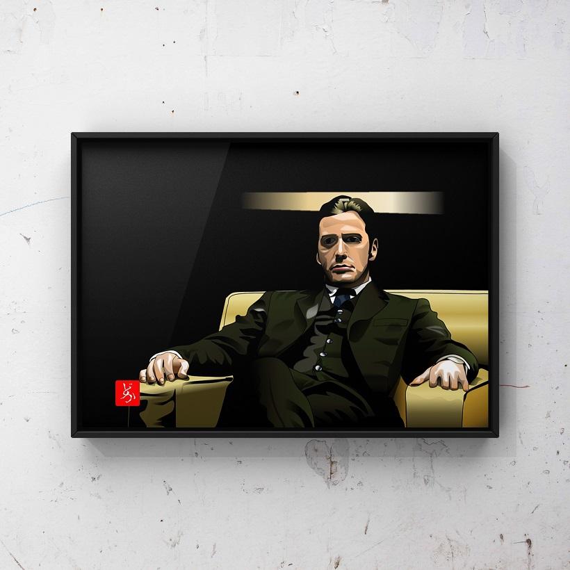 『ゴッドファーザー』のマイケル・コルレオーネのエクセル画イラスト額装版