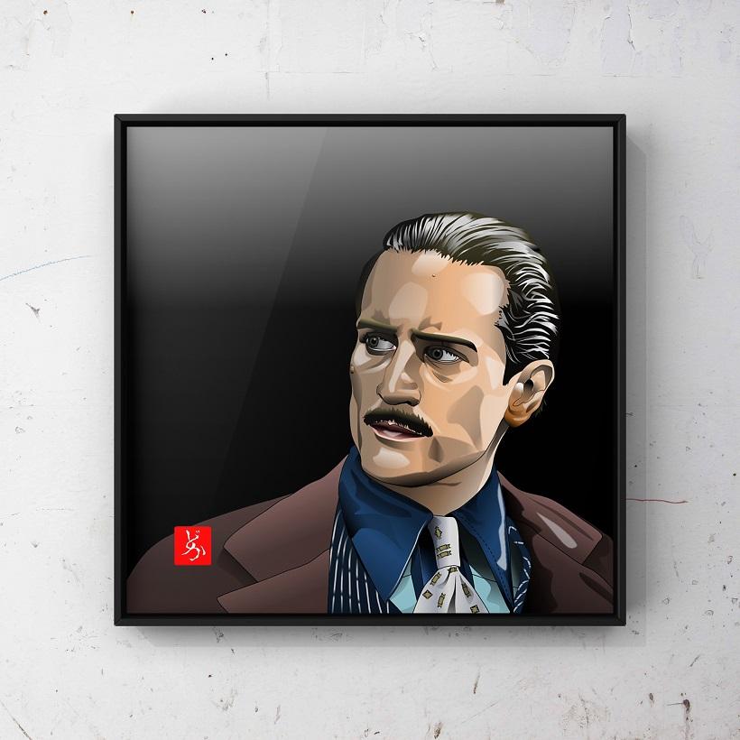 『ゴッドファーザーPART II』のロバート・デニーロのエクセル画イラスト額装版