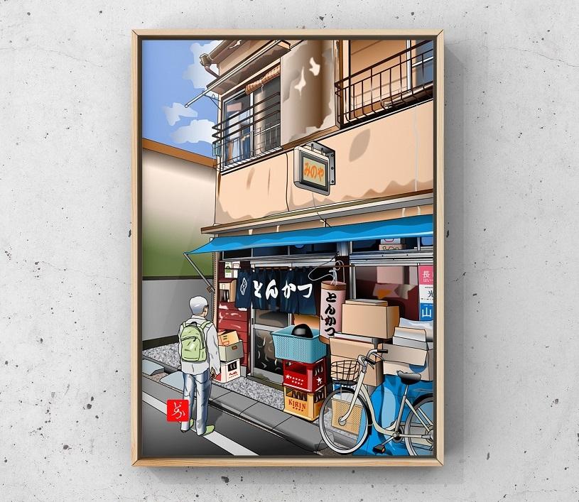 駒込の激渋とんかつ屋「みのや」のエクセル画イラスト額装版