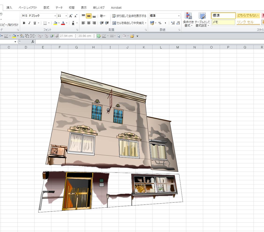 「パリー食堂」エクセル画作画過程2日目