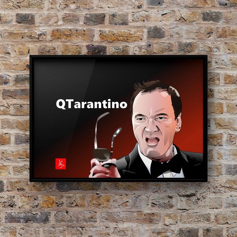 クエンティン・タランティーノのエクセル画イラスト額装版