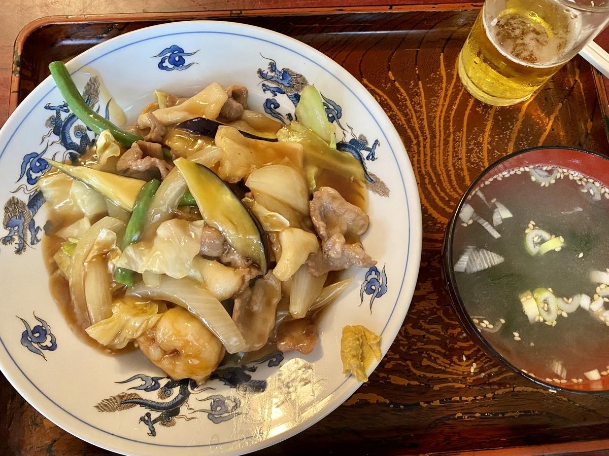 「孔雀苑」の五目焼きそば夏野菜仕様