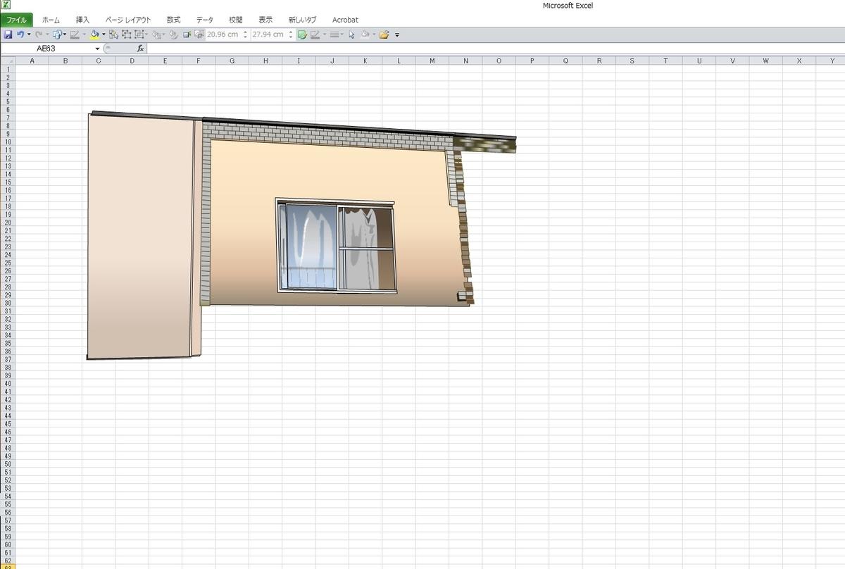 「孔雀苑」のエクセル画作画過程初日
