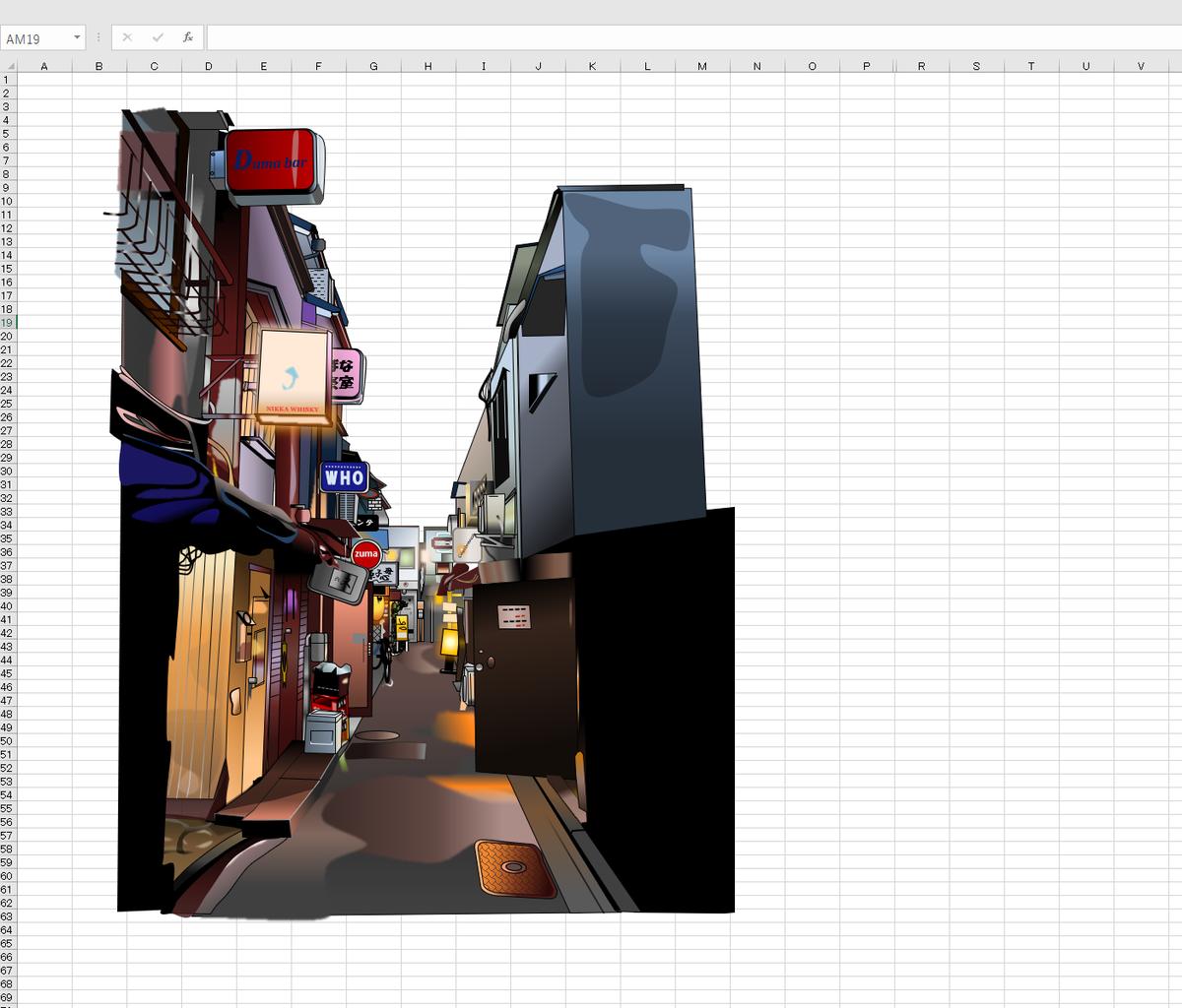 新宿「ゴールデン街」のエクセル画作画過程4