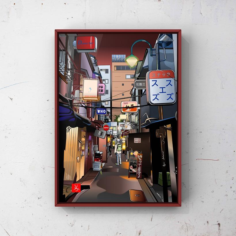 新宿「ゴールデン街」のエクセル画額装版