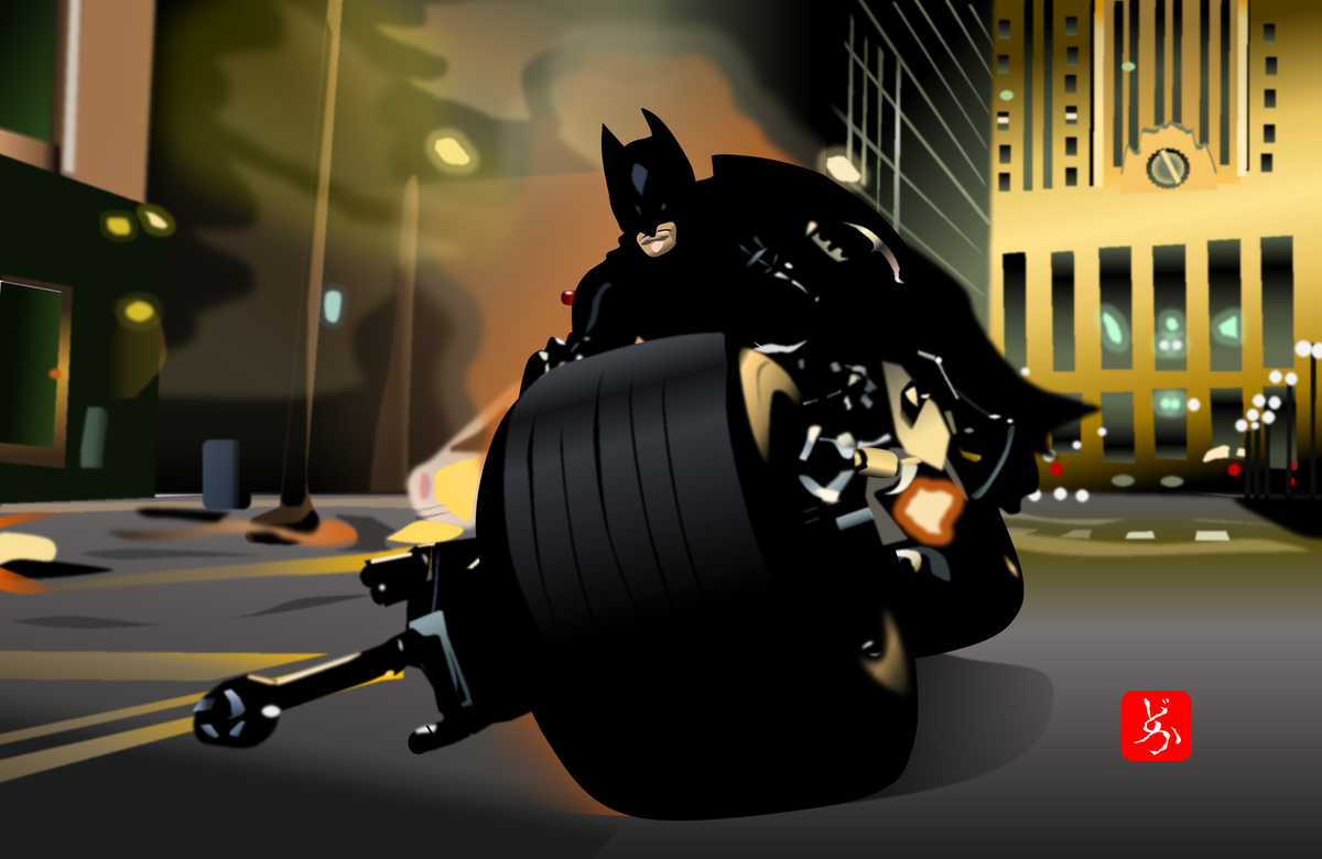 バットポッドでゴッサムシティを疾走するバットマンのエクセル画イラスト