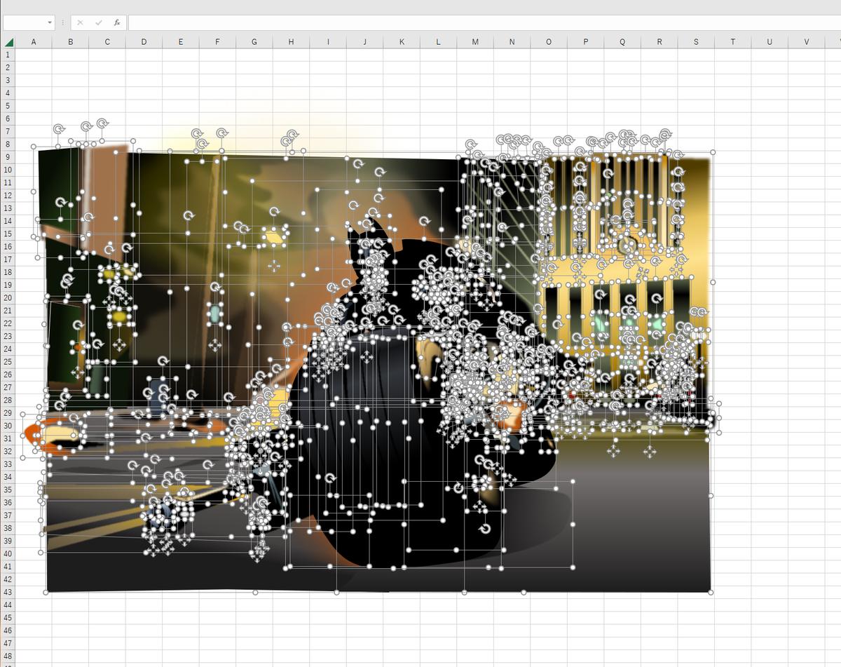 バットポッドでゴッサムシティを疾走するバットマンのエクセル画ドット版