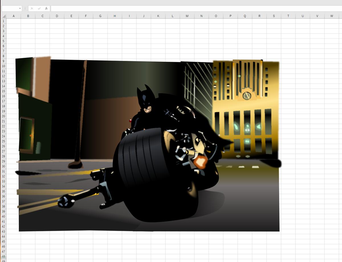 エクセル画でバットポッド疾走。作画過程3日目