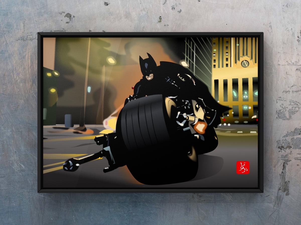 バットポッドで疾走するバットマンのエクセル画額装版