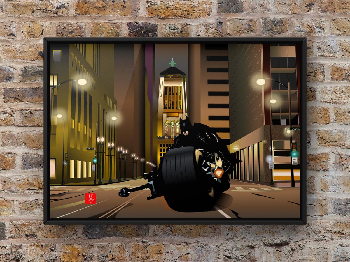 バットポッドで疾走するバットマンのエクセル画別背景額装版