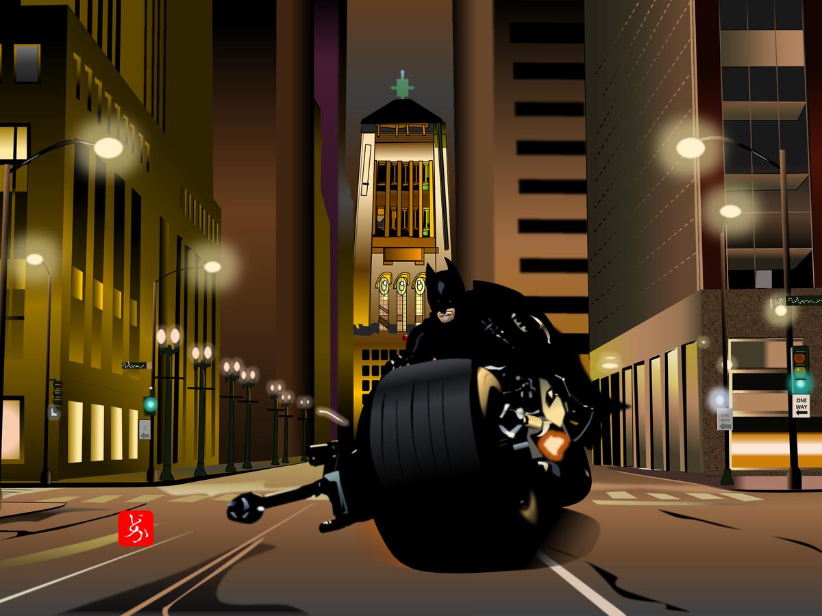 バットポッドでゴッサムシティを疾走するバットマンのエクセル画別背景