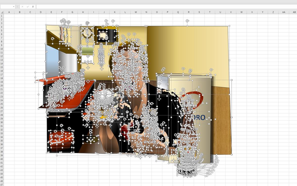 町中華の黒帯、玉袋筋太郎=玉ちゃんのエクセル画イラストドット版