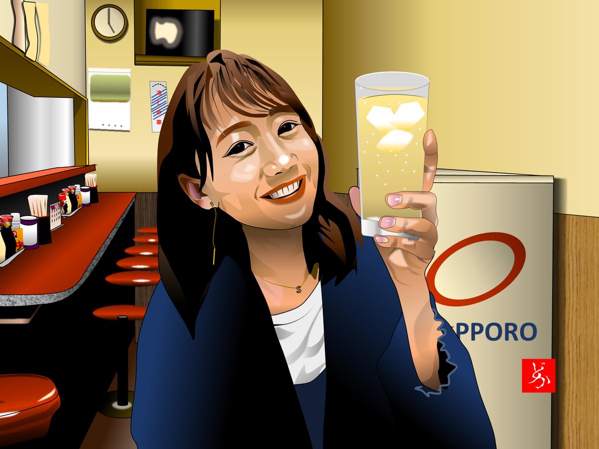 町中華姐さん、高田秋のエクセル画イラスト