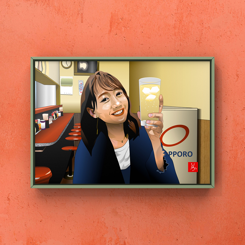町中華姐さん、高田秋の単体エクセル画イラスト額装版