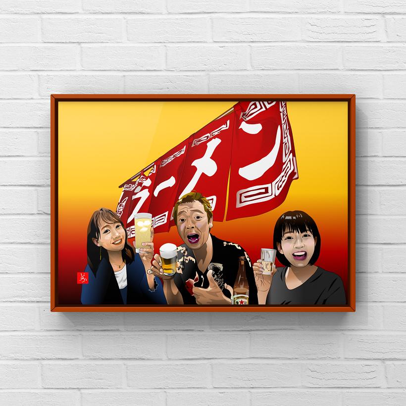 『町中華で飲ろうぜ』の全員集合エクセル画イラスト額装版