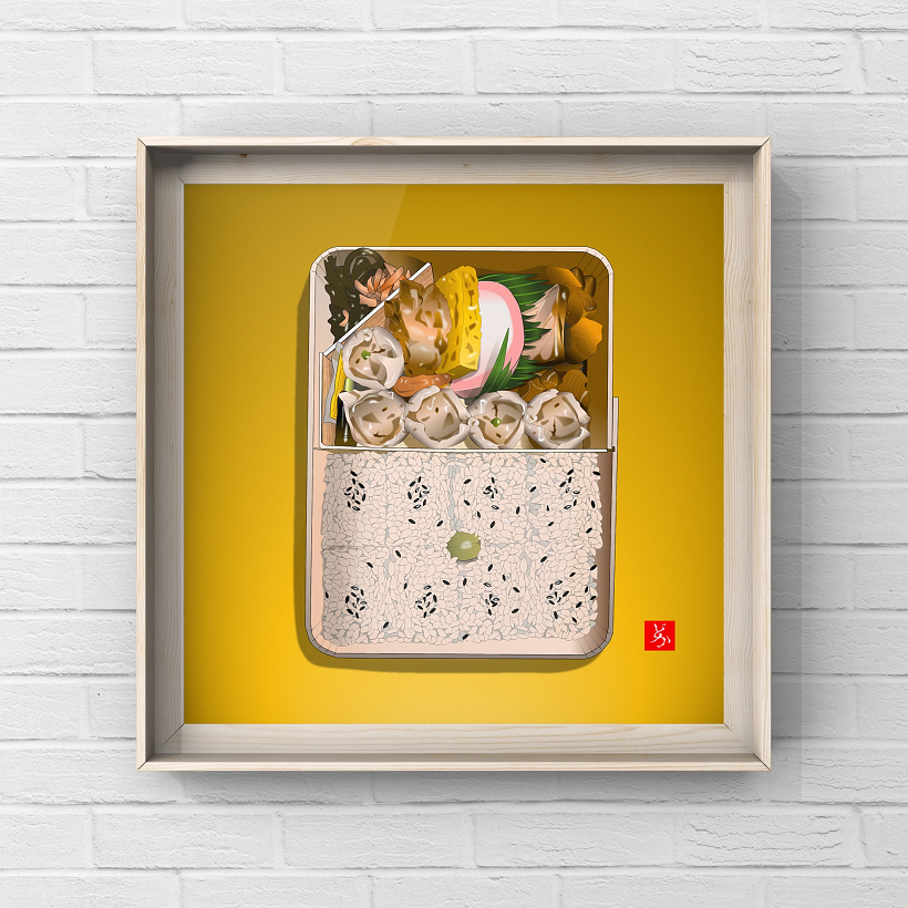 崎陽軒のシウマイ弁当のエクセル画イラスト額装版