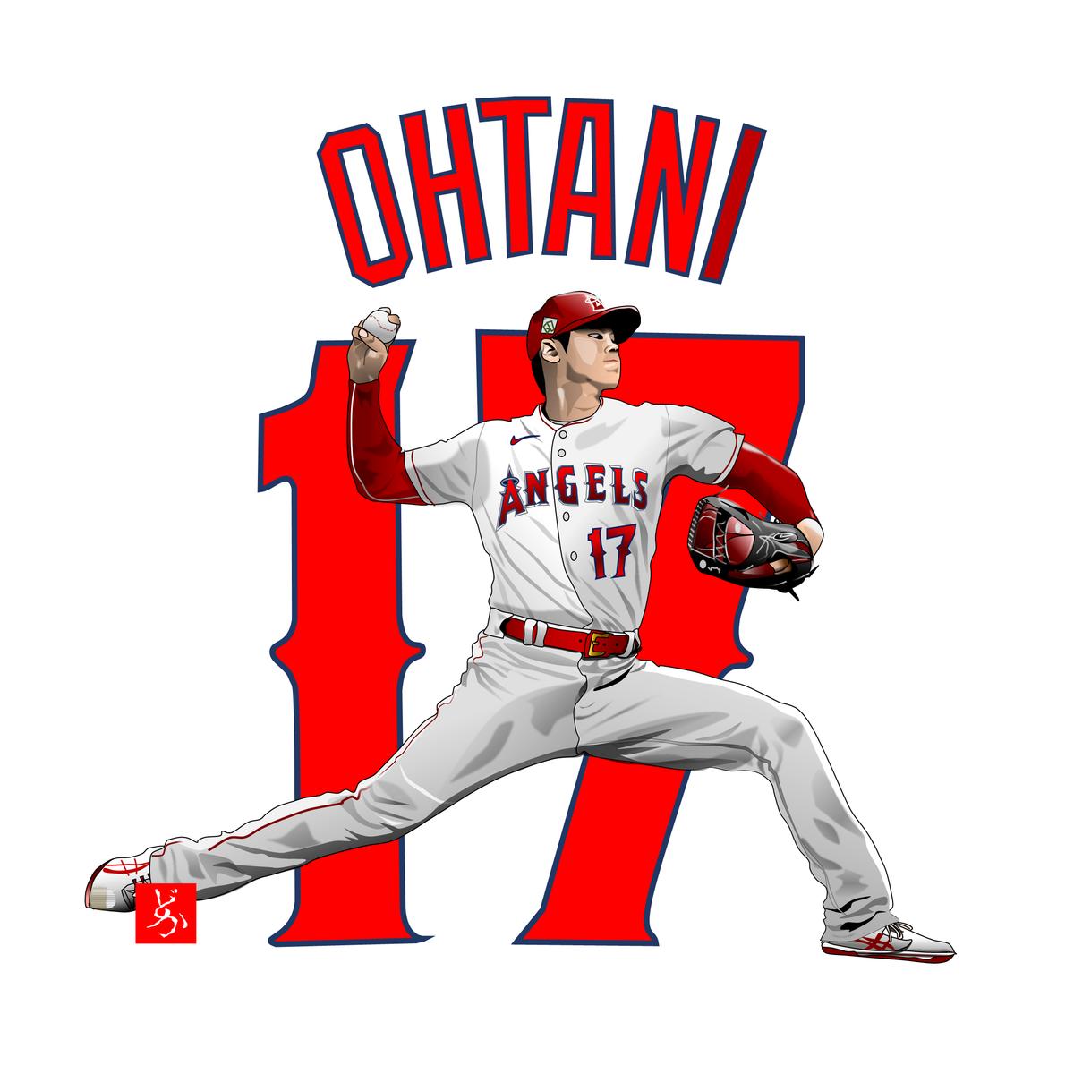 MLBエンゼルスの投手・大谷翔平のエクセル画イラスト
