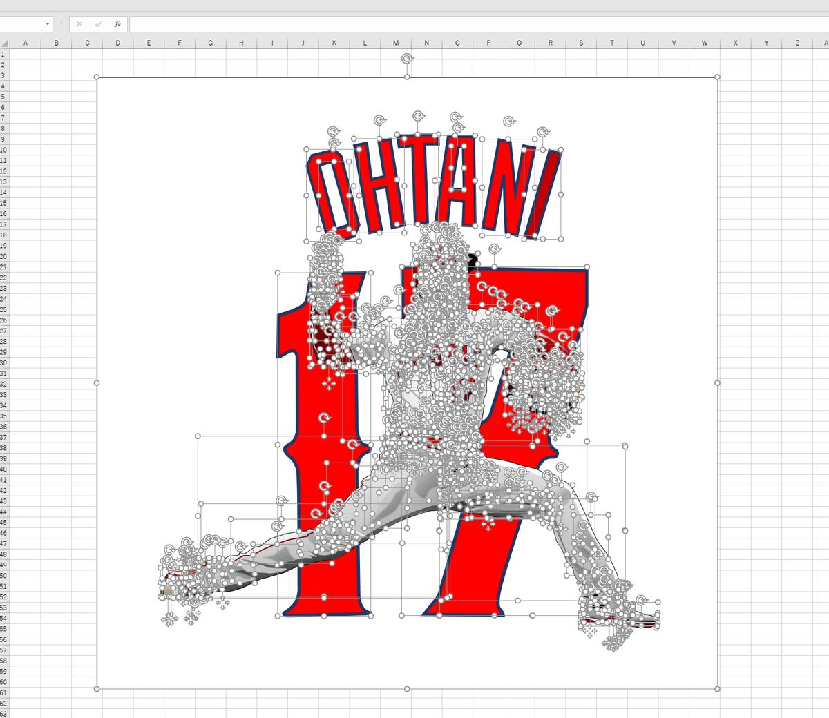 MLBロサンゼルス・エンゼルスの投手・大谷翔平のエクセル画イラストドット版