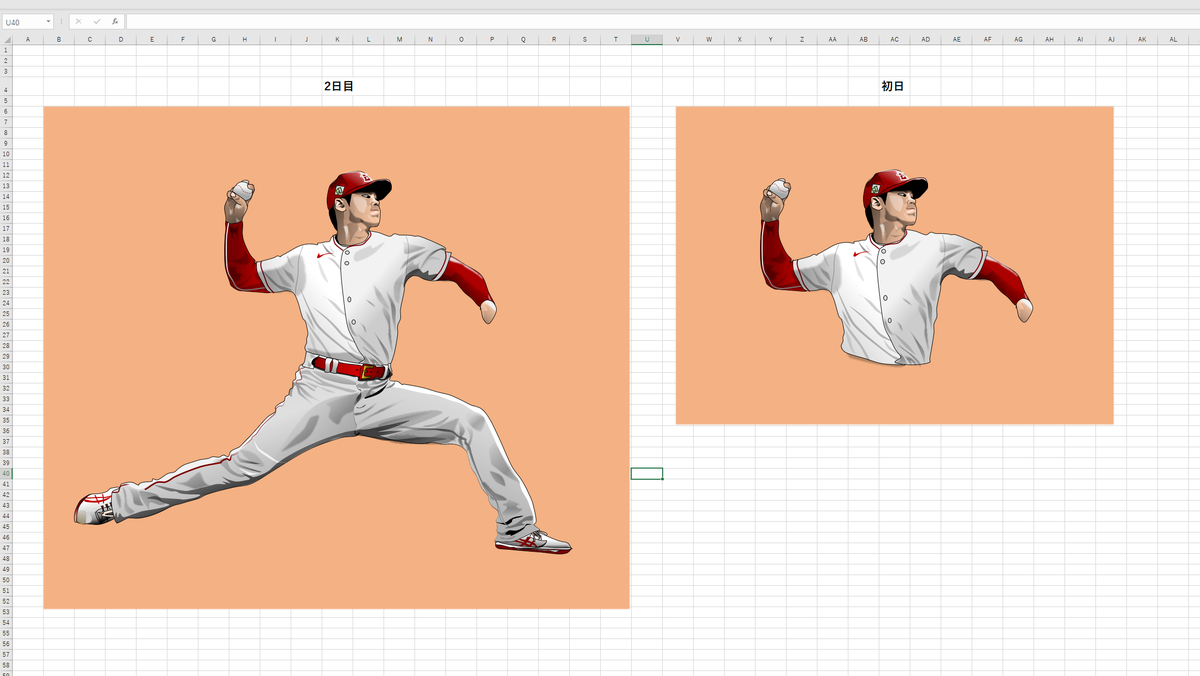 MLBエンゼルスの投手・大谷翔平のエクセル画作画過程2日目