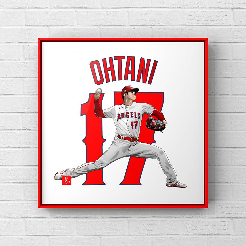 MLBエンゼルスの投手・大谷翔平のエクセル画イラスト額装版