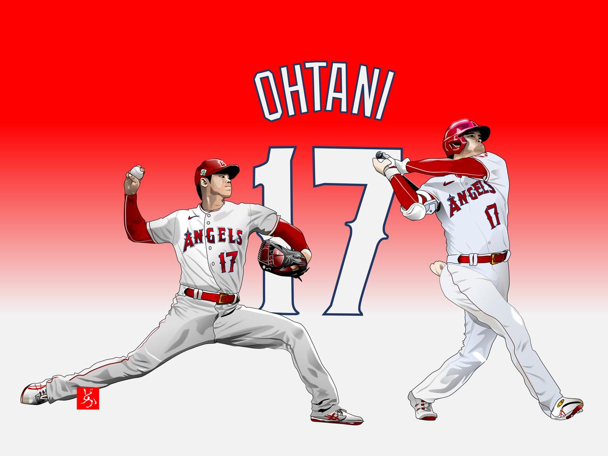 MLBエンゼルスの二刀流・大谷翔平のエクセル画イラスト