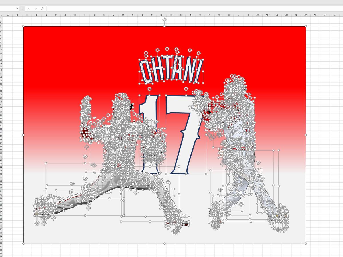 MLBエンゼルスの二刀流・大谷翔平のエクセル画イラストドット版
