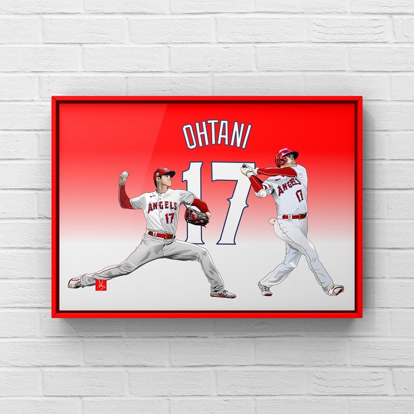 MLBエンゼルスの二刀流・大谷翔平のエクセル画イラスト額装版