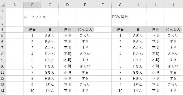 ROW関数用の表 オートフィルとの比較