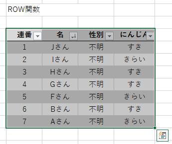 テーブル降順 ROW関数