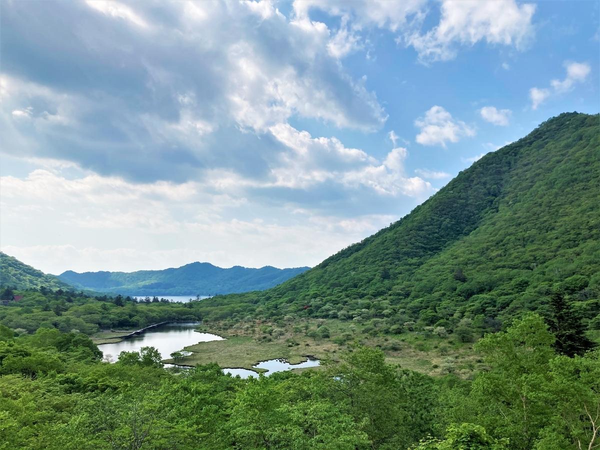 鳥居峠から見下ろす覚満淵