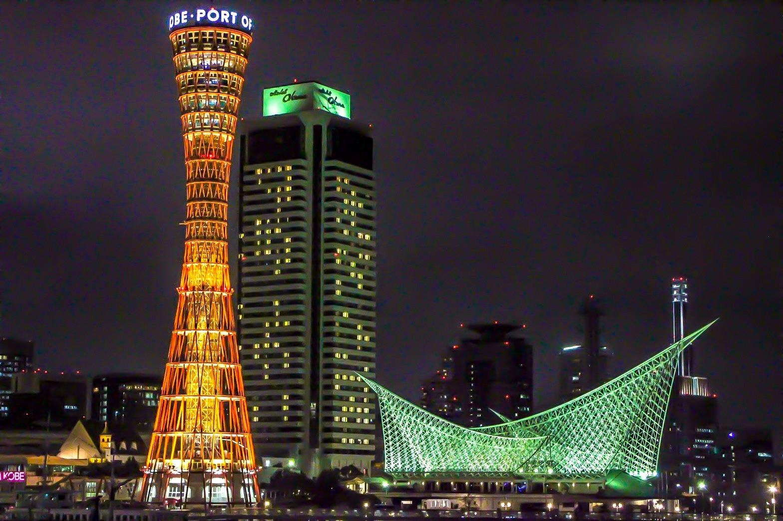 モザイクから見るポートタワーの夜景