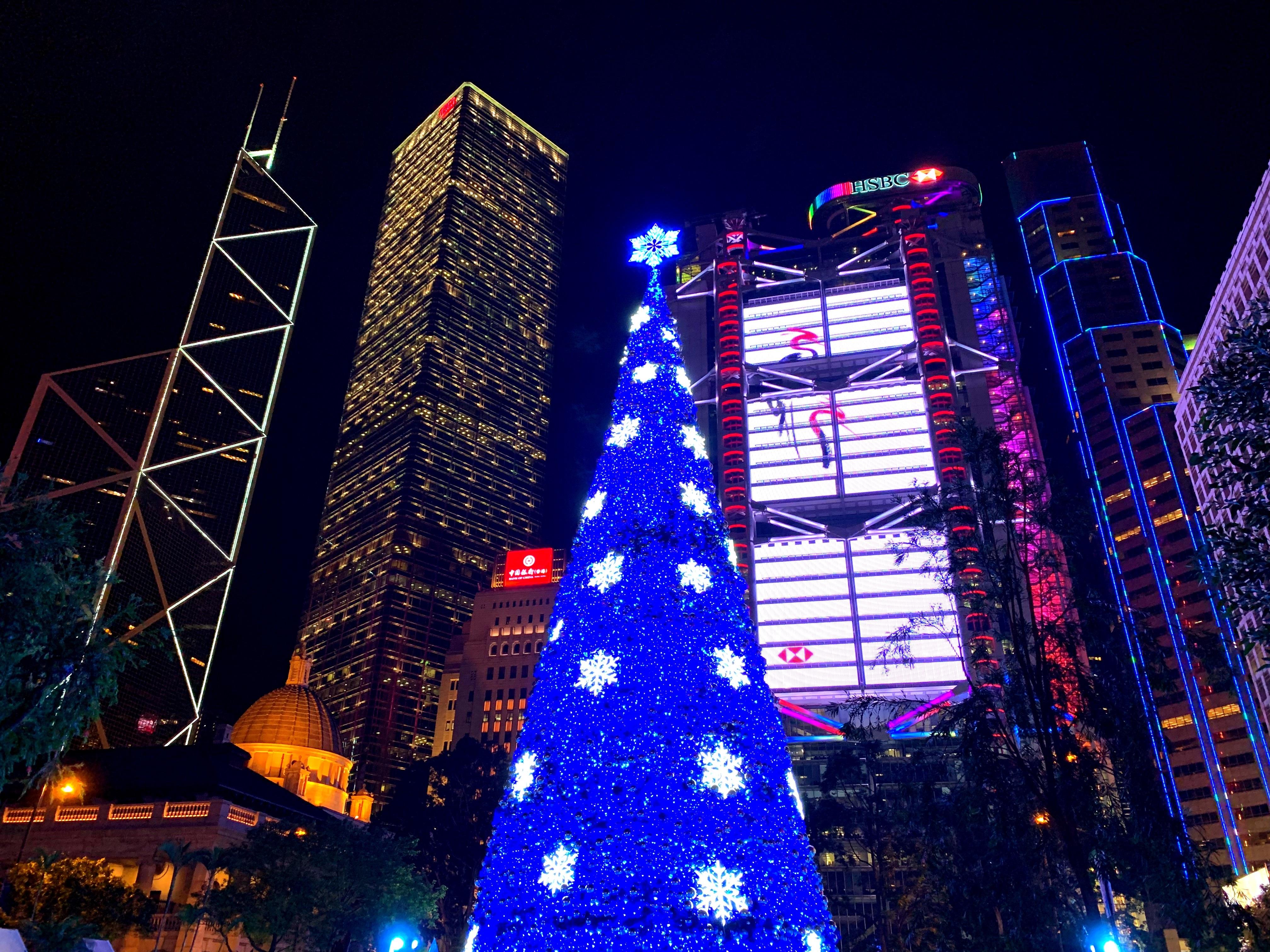 香港・中環のクリスマスツリーと金融街