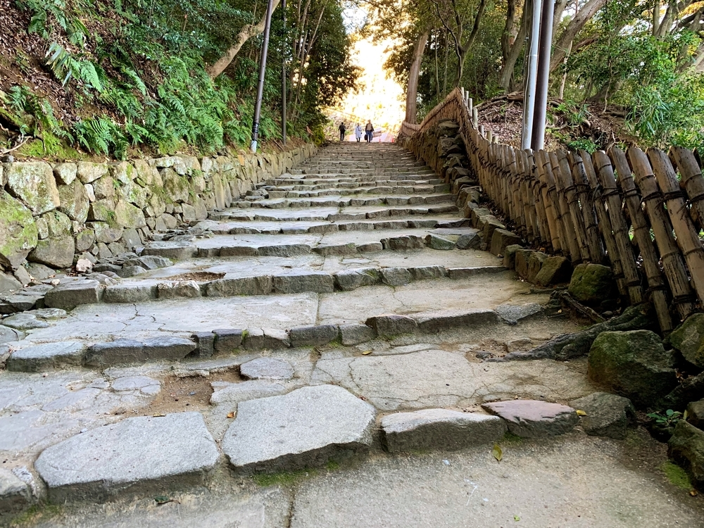 彦根城の門から入るとすぐの階段
