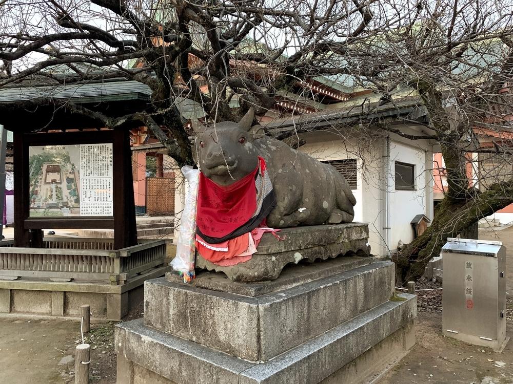 北野天満宮にある牛の像