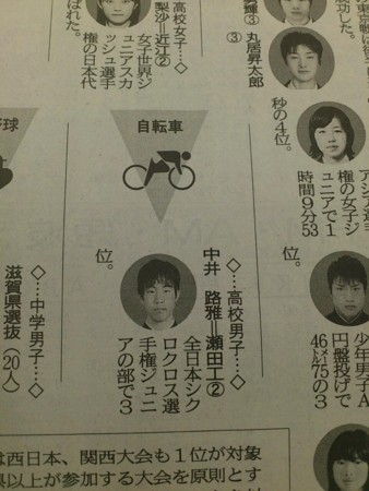 京都新聞ジュニアスポーツ賞に中井路雅。