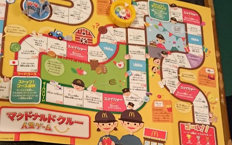 ボードを広げた様子 - マクドナルドクルー 人生ゲーム