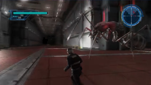 巨大生物(蟻)に襲われたまま動かなくなった先輩NPCの周りをウロウロするプレイヤーキャラ【地球防衛軍5】
