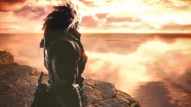 崖の上から海へと向かうゾラ・マグダラオスを見つめる謎の男【モンスターハンター:ワールド】