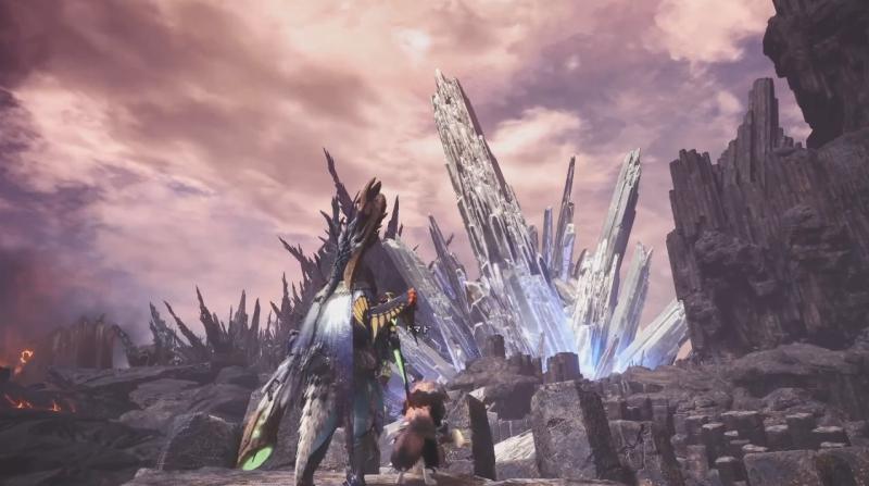 龍結晶の地のキャンプ近くからみえる一際大きな結晶体を眺められる絶景ポイント【モンスターハンター:ワールド】