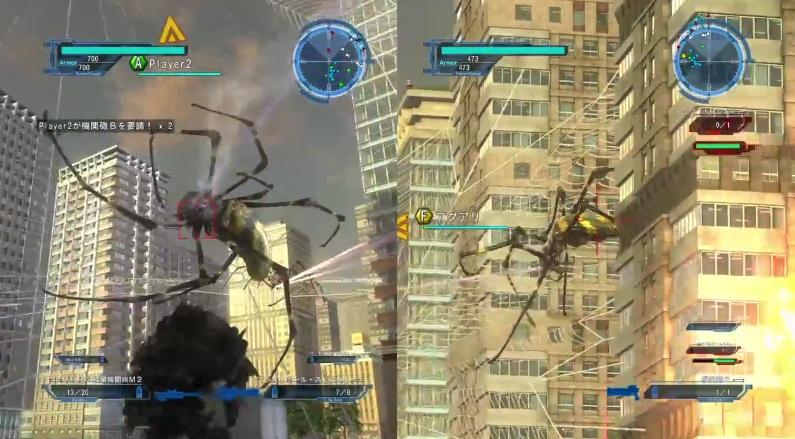 ビルの間に張ったネットの上にいるアラネアを攻撃するところ【地球防衛軍5】