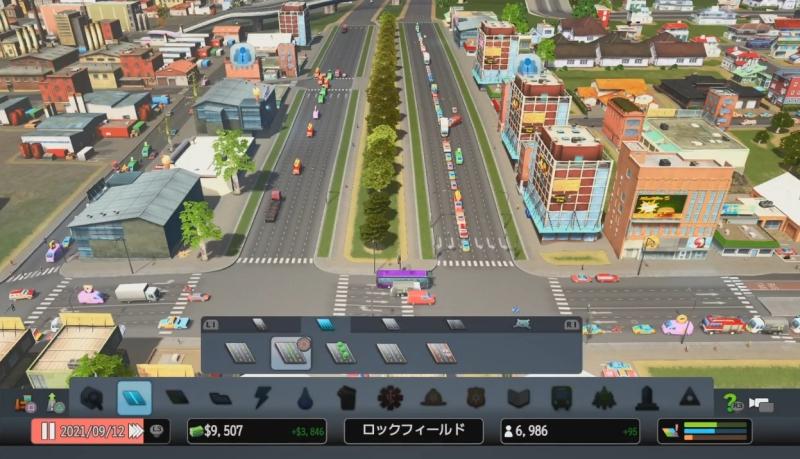 街に入ってくる車の渋滞の列【シティーズ:スカイライン PlayStation4 Edition】