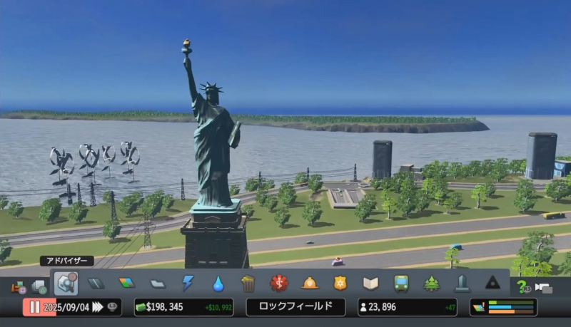 観光特区に設置したランドマーク「自由の女神像」【シティーズ:スカイライン PlayStation4 Edition】