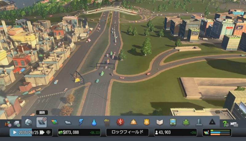 高速出口からの分岐路を改修した後【シティーズ:スカイライン PlayStation4 Edition】