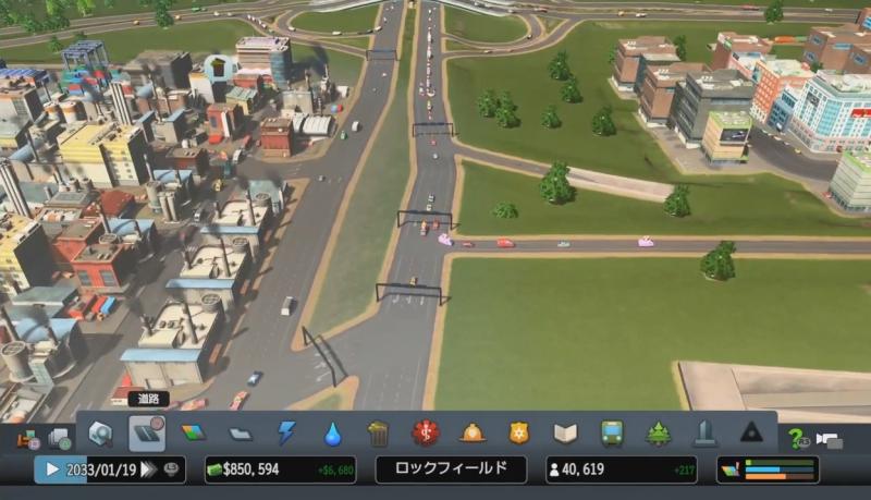 高速出口からの分岐路を改修する前【シティーズ:スカイライン PlayStation4 Edition】