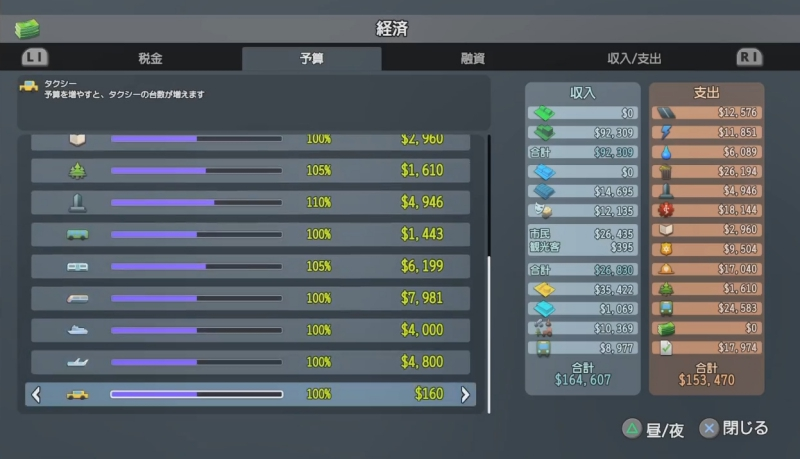 夜の予算(上半分)【シティーズ:スカイライン PlayStation4 Edition】